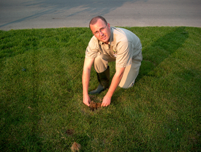Kyle Tobin peeling back a lawn to reveal heavy thatch