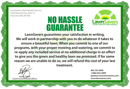 LawnSavers No Hassle Guarantee